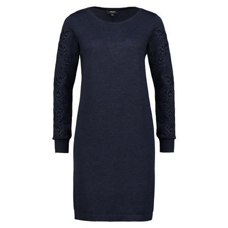 Lace Sleeve Shift Dress Navy