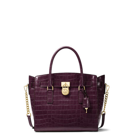Hamilton Embossed Messenger Bag Purple