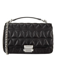 Sloan Large Quilted Leather Shoulder Bag Black