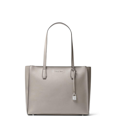 Mercer Large Top Zip Leather Tote Grey