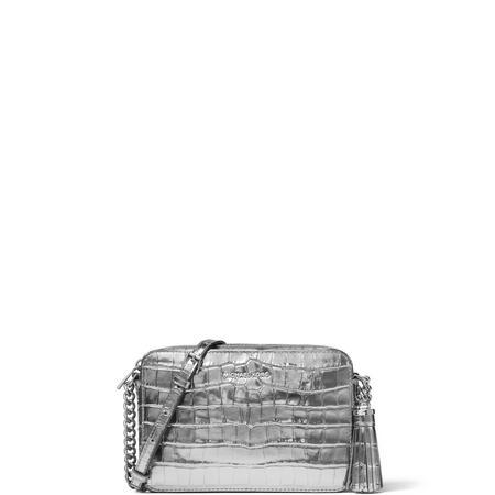 Ginny Metallic Embossed Leather Crossbody Bag Silver-Tone