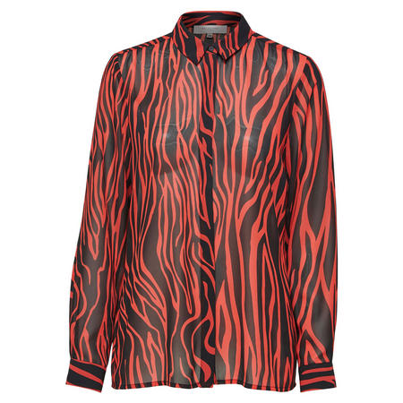 Aggy Printed Shirt Blouse Red