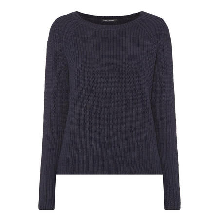 Plaited Knit Sweater Navy