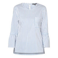 Tie Sleeves Striped Blouse Blue