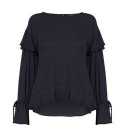 Frill Shoulder Blouse Navy