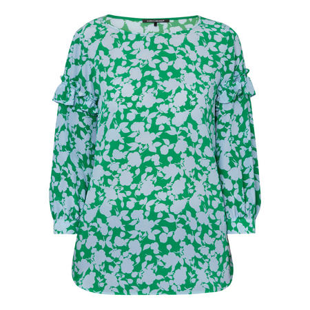 Ruffled Floral Print Silk Blouse Green