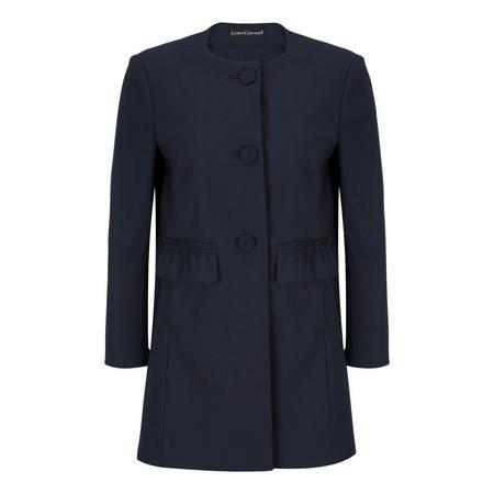 Pleated Pocket Jacket Blue