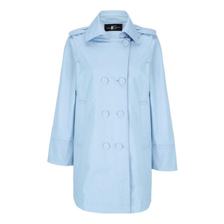 Double Breasted Trench Coat Blue