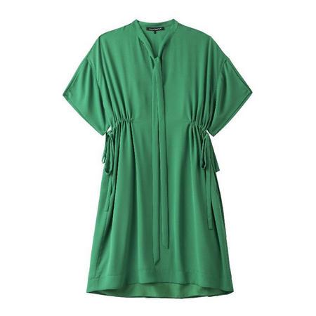 Drawstring Waist Shift Dress Green