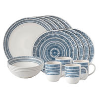 Ellen DeGeneres Dark Blue Chevron 16 Piece Set