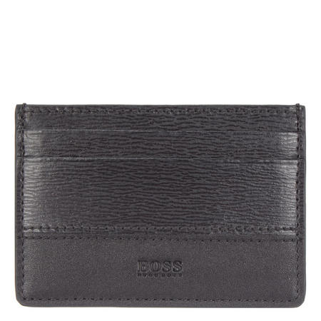 Textured Leather Card Holder Black