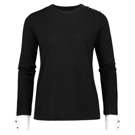 Button Detail Long Sleeve Top Black