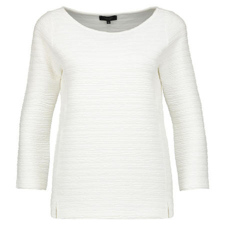 Ribbed 3/4 Sleeve Top White