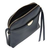 Pochette Top Zip Leather Crossbody Navy