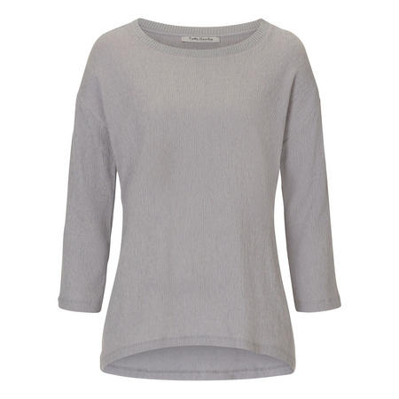 Rib Collar Casual Top Grey