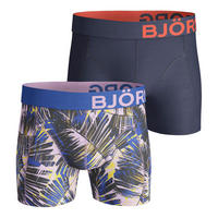Two-Pack Palm Leaf Cotton Stretch Boxers Pink