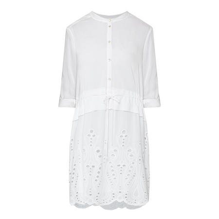 Broderie Anglaise Shirt Dress White