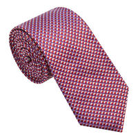 Textured Grid Pattern Tie Red