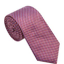 Textured Grid Pattern Tie Red
