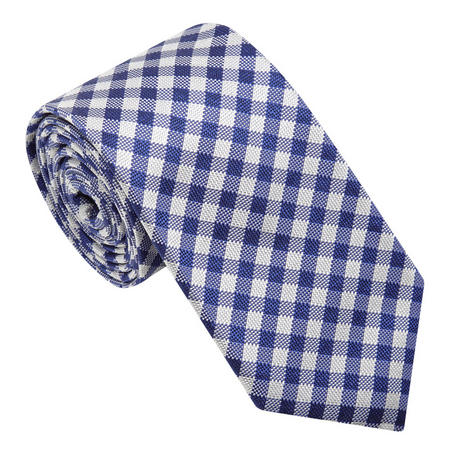 Check Silk Tie Blue