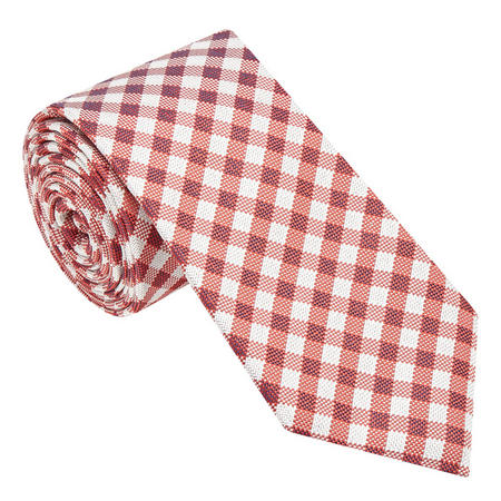 Check Silk Tie Red