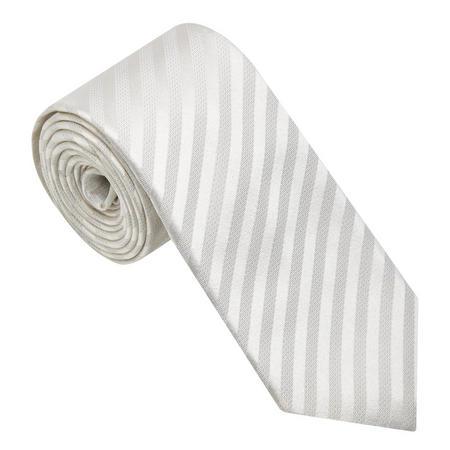Striped Silk Tie White