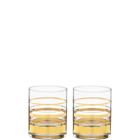Hampton Street Stripe 2-Piece Double Old Fashioned Glass Set By Lenox