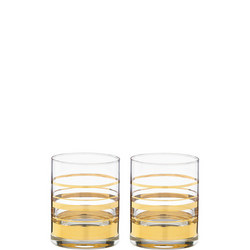 Hampton Street Stripe 2-Piece Double Old Fashioned Glass Set By Lenox