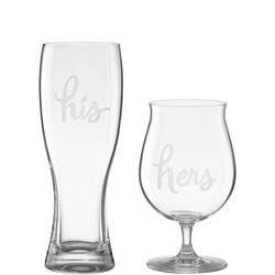 Two Of A Kind His & Hers Beer Glass Set By Lenox