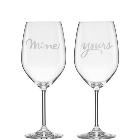 2-Piece Mine & Yours Wine Glass Set By Lenox