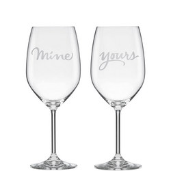 2-Piece Mine & Yours Wine Glass Set By Lenox