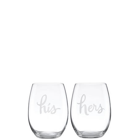 2-Piece His & Hers Stemless Wine Glass Set By Lenox