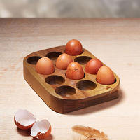 Natural Elements Acacia Wood Egg Rack Multicolour