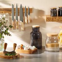 Natural Elements Acacia Wood Hachoir Set Stainless Steel