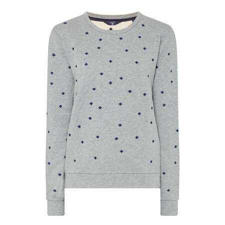 Snowflake Embroidered Sweatshirt Grey