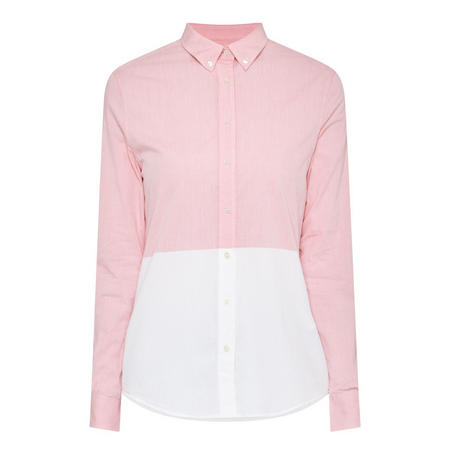 Chambray Two-Tone Blouse Pink
