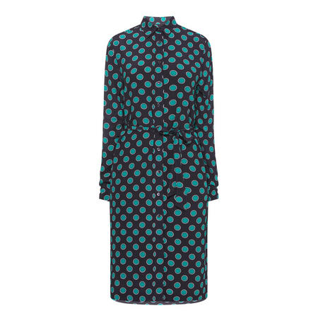 Misty Dot Print Dress Navy