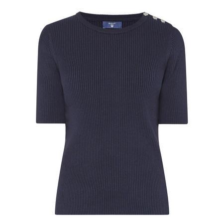 Ribbed Short Sleeve Sweater Navy