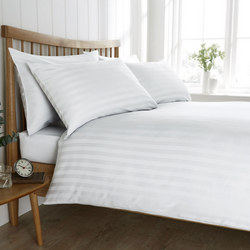 200 Thread Count Satin Stripe Duvet Set White