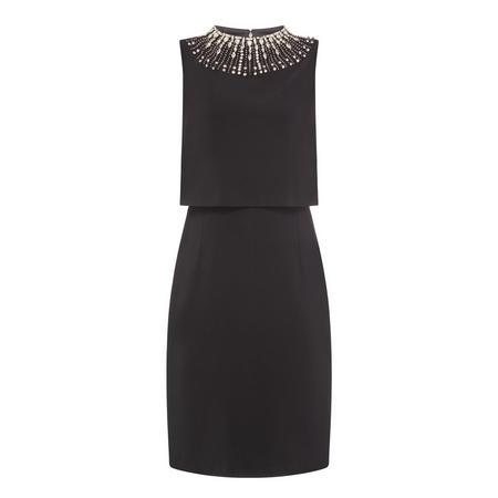 Two Tier Diamanté Pencil Dress Black
