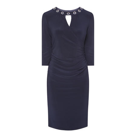 Cut-Out Pencil Dress Navy