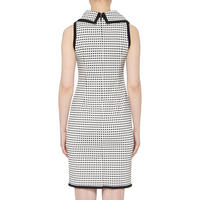 Collared Square Pattern Dress White