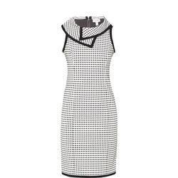 Collared Square Pattern Dress White