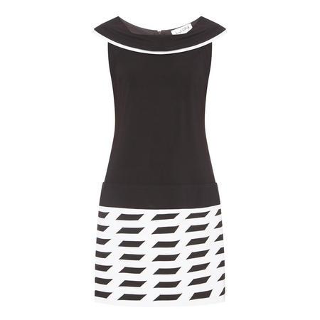 Patterned Collared Dress Black