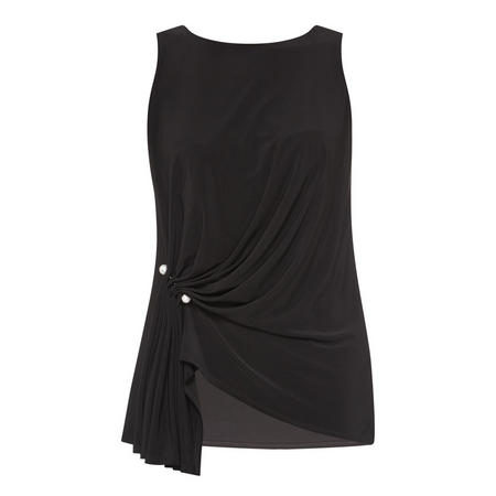 Sleeveless Ruched Top Black