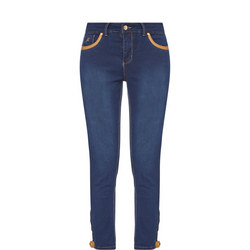 Slim Fit Cropped Jeans Blue