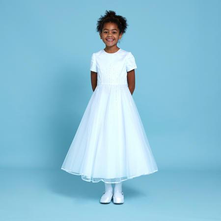 Diamante Stripe Communion Dress White