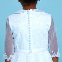 Half Sleeve Lace Communion Dress White