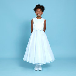 Embellished Bow Communion Dress White