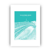 Ha'Penny Bridge Framed Print Multicolour